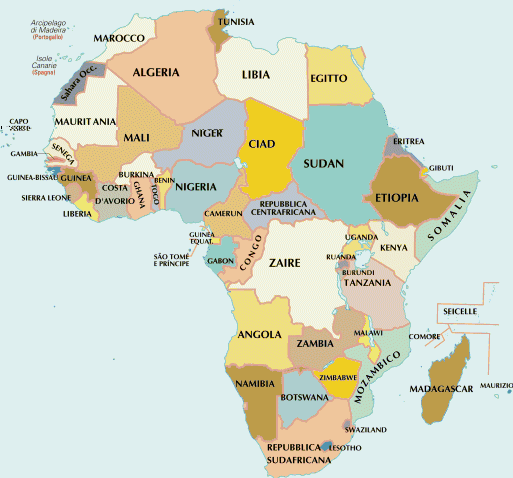 Africa Politica Cartina In Italiano.Mappa Dell Africa
