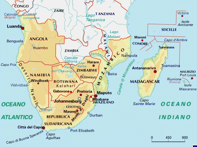Cartina Africa Sud.Mappa Dell Africa Del Sud