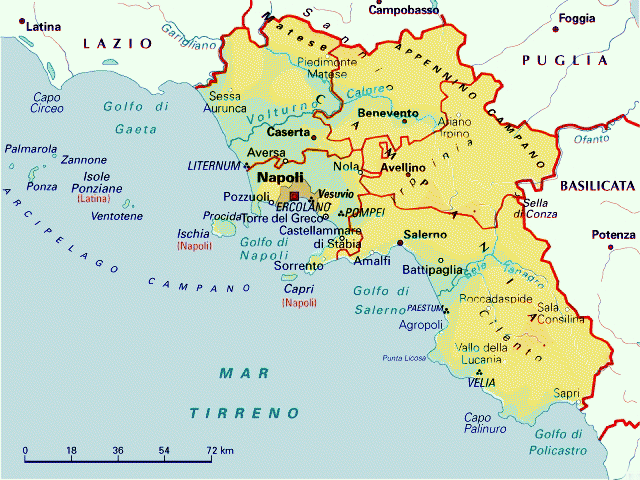 La Cartina Geografica Della Campania.Mappa Campania