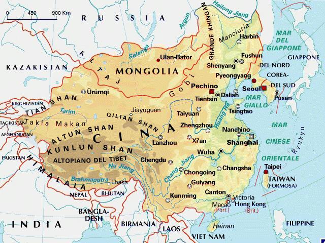 Cartina Geografica Della Mongolia.China E Mongolia
