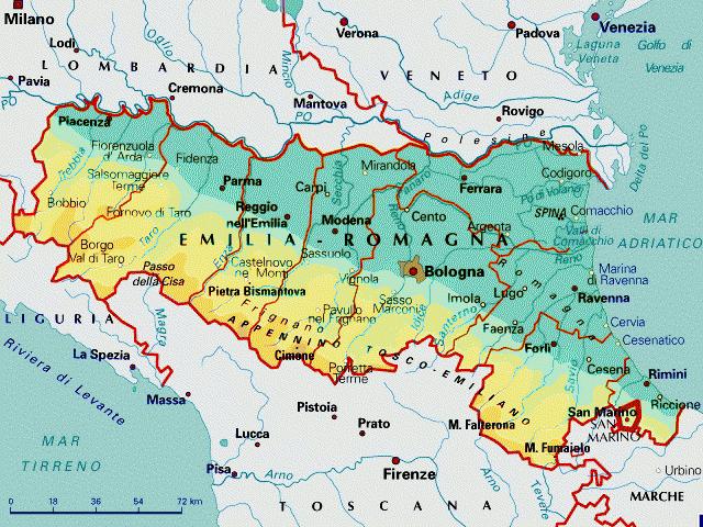 Cartina Della Emilia Romagna.Emilia Romagna