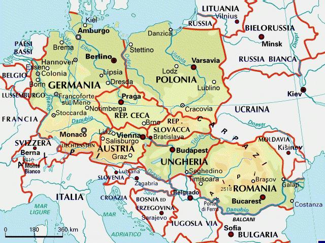 Cartina Geografica Europa Centrale.Europa Centro Orientale