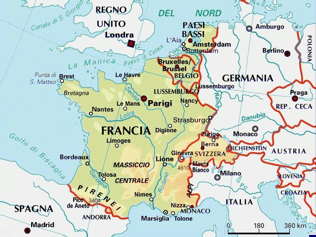 Cartina Topografica Della Francia.Francia Benelux Cartina