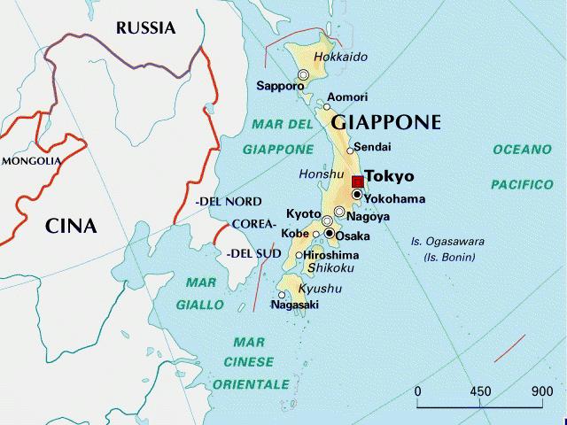 Cartina Giappone In Italiano.Mappa Giappone