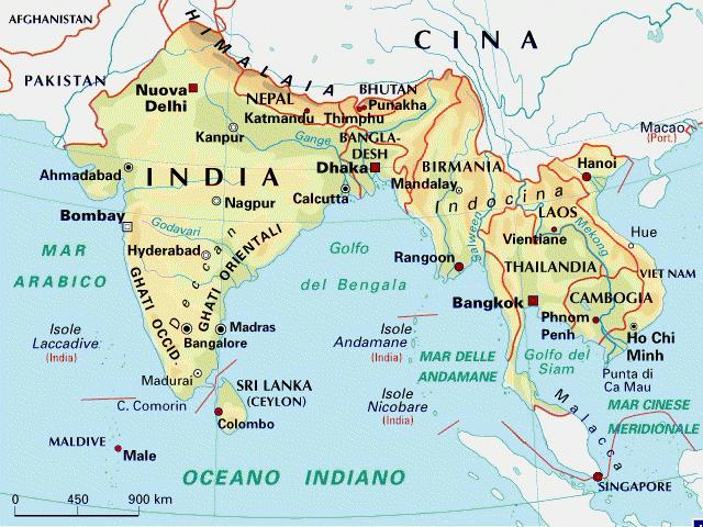 Cartina di india e thailandia, nel sud dell'asia