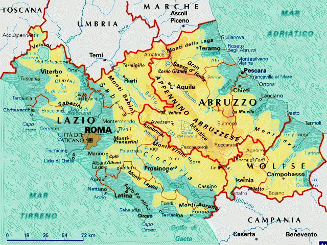 Cartina Geografica Fisica Lazio.Lazio Abruzzo E Molise Cartina