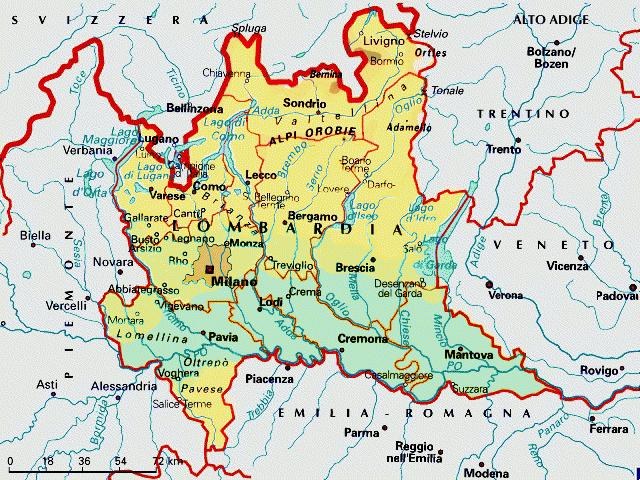 Pavia Cartina Lombardia.Lombardia Cartina