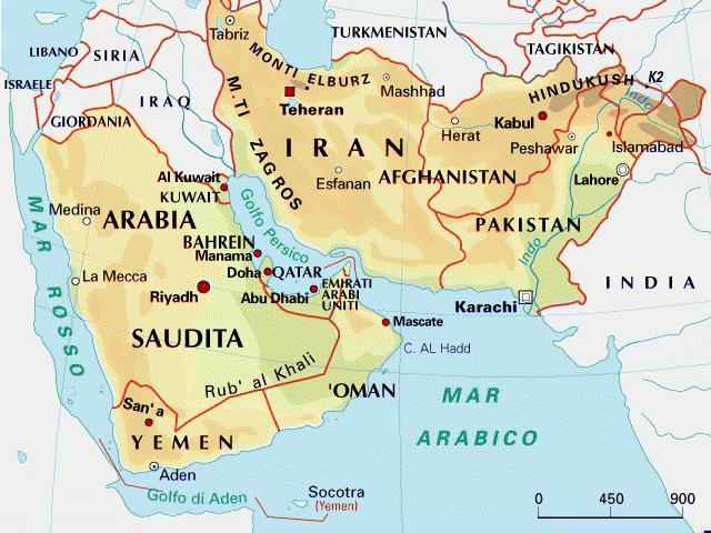 Mappa del medio oriente for La capitale dell arabia saudita