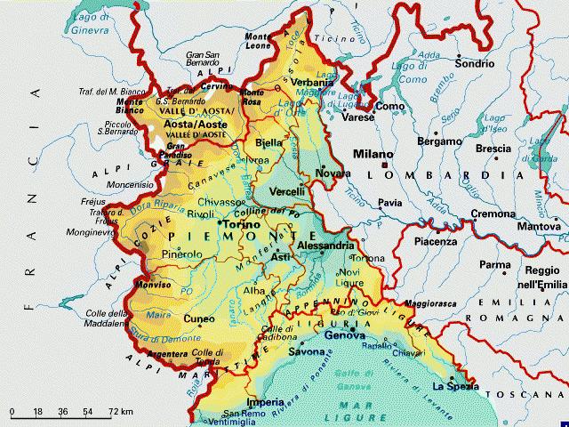 Cartina Fisica E Politica Del Piemonte.Piemonte E Liguria Cartina