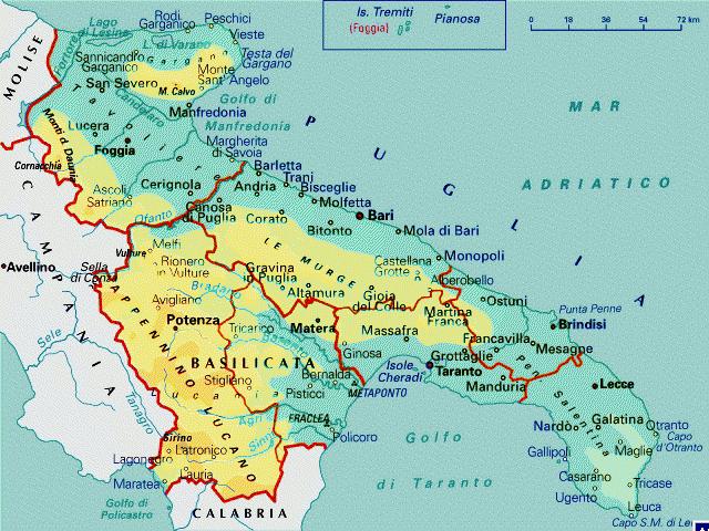 Cartina Giografica Della Puglia.Puglia Basilicata Cartina
