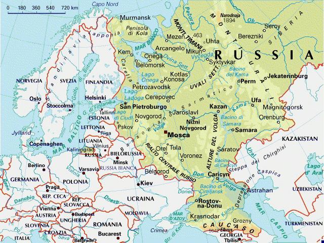 Cartina Politica Russia In Italiano.Mappa Russia Europea