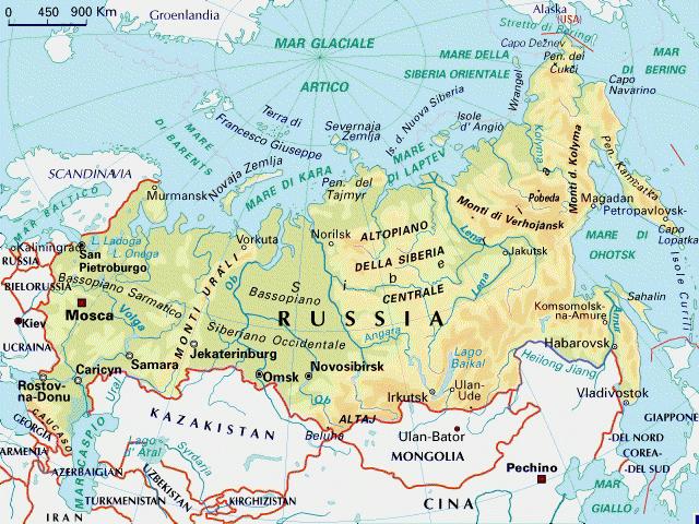 La Cartina Della Russia.Mappa Russia