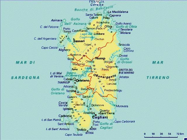 Mappa Km Sardegna.Mappa Sardegna