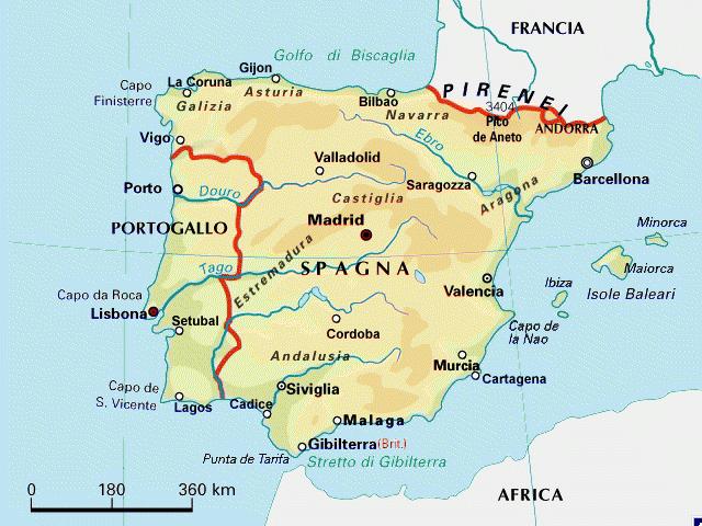 Cartina Portogallo E Spagna.Spagna E Portogallo Mappa
