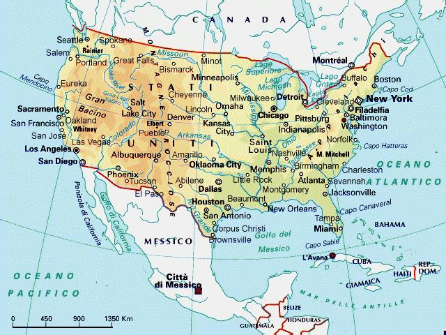 Usa Stati Cartina.Mappa Di Stati Uniti