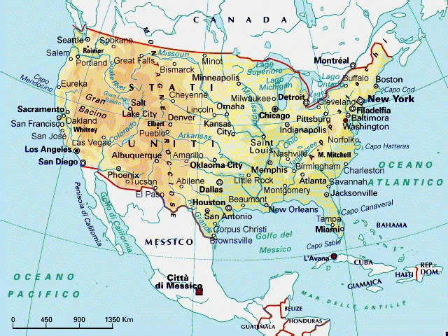 Cartina Fisico Politica Usa.Cartina Geografica Stati Uniti Est