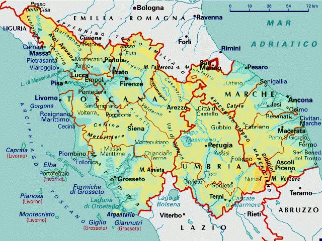 Cartina Stradale Umbria Toscana.Toscana Umbria Marche Mappa
