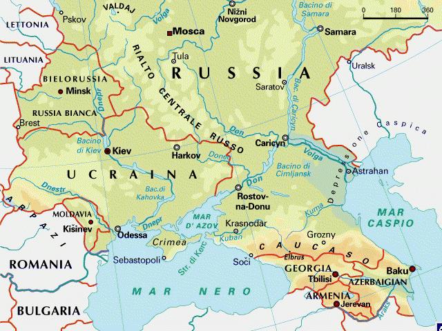 Cartina Geografica Russia Ucraina.Ucarina E Caucaso