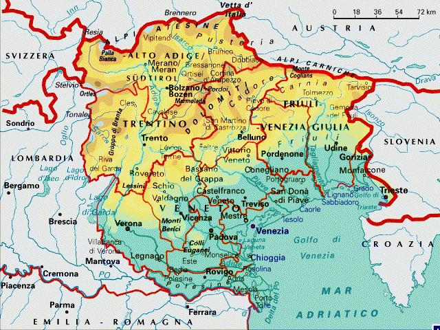 Cartina Friuli E Veneto.Mappa Triveneto
